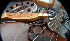 broken glasses on bass